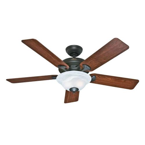 Hunter 53111 Brookline 52 in. Traditional Bronze Medium Oak Indoor Ceiling Fan with 2 Lights