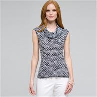 Sleeveless Cowl Neck Top, White Multi, medium
