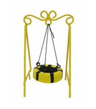 Fairy Garden Metal Tire Swing-Bee