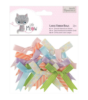 Papermania Little Meow Large Ribbon Bows