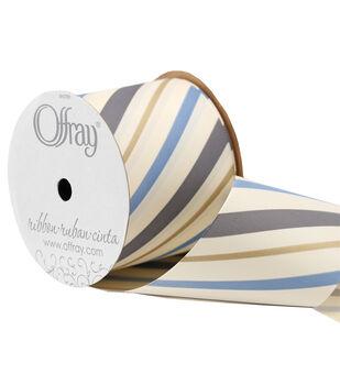 Offray 3'' x 15' Stripe Ribbon-Gray/Blue/Gold/Cream