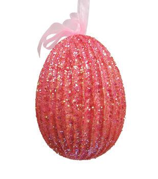 Easter Glittered Egg Ornament-Pink