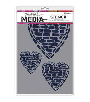 Ranger Dina Wakley Pebble Heart Media Stencils