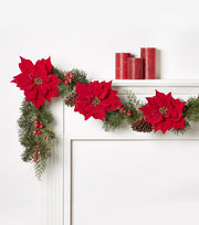 Blooming Holiday 66'' Poinsettia, Pinecone & Berry Garland, , hi-res