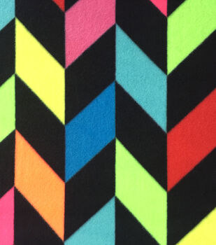 Anti-Pill Fleece Fabric-Neon Broken Chevron