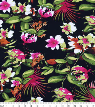 Flannel Shirting Cotton Fabric-Floral Multi On Black Rayon