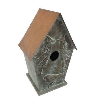 In The Garden Verdigris Copper Roof Birdhouse
