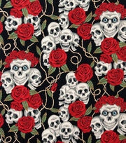 Alexander Henry Cotton Fabric-The Rose Tattoo Blk Brite, , hi-res