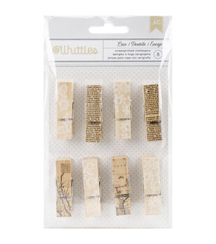 American Crafts™ 8pcs Whittles Clothespins-Newsprint & Lace
