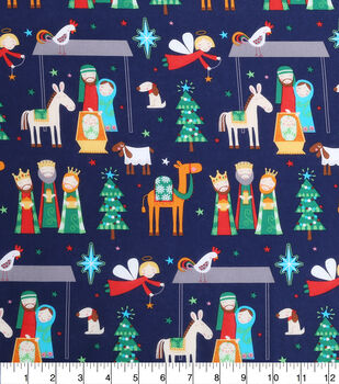 Keepsake Calico Holiday Cotton Fabric-Whimsy Nativity All Over