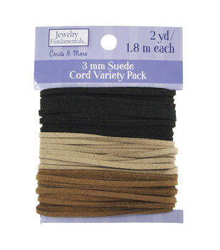 Jewelry Fundamentals Cords & More-Suede Leather Value Pack, Neutral