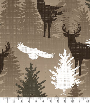 Northwoods Fleece Fabric-Stamped Wilderness