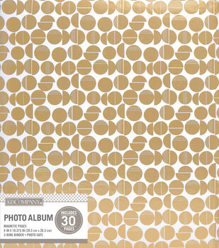 K&Company White and Gold Broken Dot Binder Magnetic Photo Album