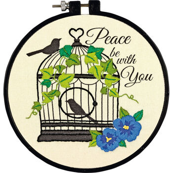 """Learn-A-Craft Birdcage Embroidery Kit-6"""" Round Stitched In Thread"""
