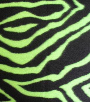 Anti Pill Fleece Fabric Zebra Fluorescent Lime