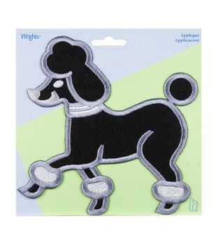 X-Large Black Poodle Applique