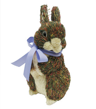 Sisal Easter Bunny With Purple Bow