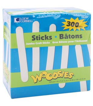 "Woodsies Jumbo Craft Sticks-Natural 6"" 300/Pkg"