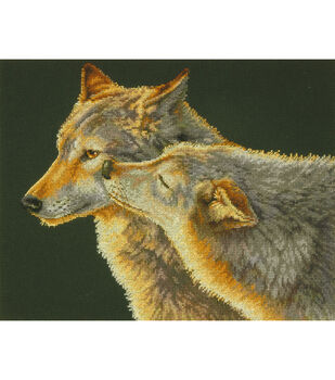 """Wolf Kiss Counted Cross Stitch Kit-14""""X11"""" 14 Count"""