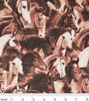 Snuggle Flannel Fabric-Running Horses Brown