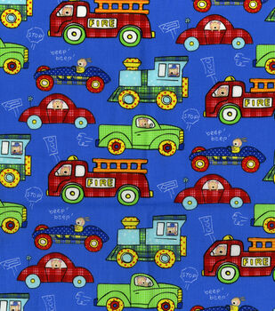 Nursery Fabric-Transportation Allover