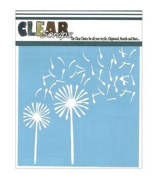 Clear Scraps 12''x12'' Stencils-Dandelion Wind