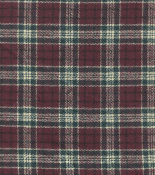 Flannel Shirting Cotton Burgandy Green