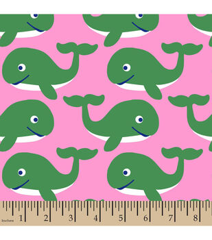 Snuggle Flannel Fabric-Whale Green