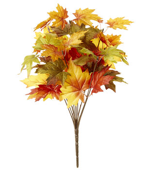 Blooming Autumn 19'' Maple Leaves Bush-Green, Red & Yellow