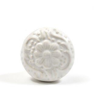 Dritz Home Ceramic Embossed Flower Knob-White