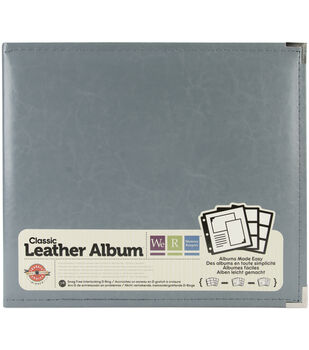We R Memory Keepers Faux Leather 3-Ring Binder Charcoal Gray 12'' x 12''
