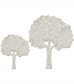 Fabscraps Die-Cut Grey Chipboard Embellishments Fluffy Trees