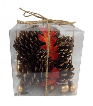 Blooming Autumn Pinecone  & Acorn In Acetate Box