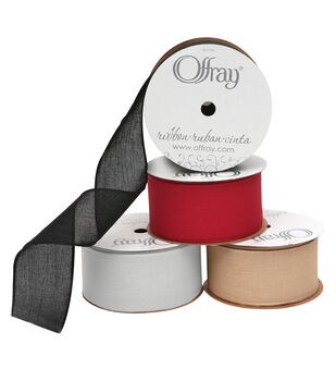 """Offray 1.5""""x9' San Marino Solid Wired Edge Ribbon"""