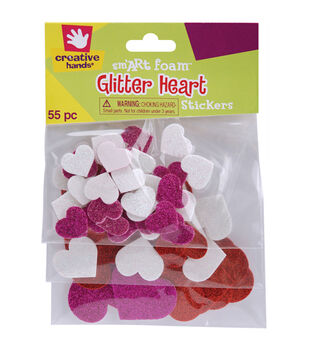Fibre Craft Foam Glitter Stickers-55PK/Hearts