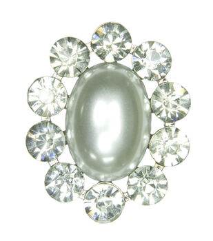 Laliberi Rhinestone Pearl Cameo Silver Pin