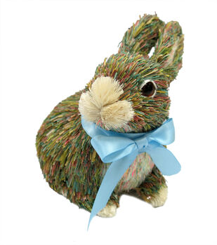 Sisal Easter Bunny With Blue Bow