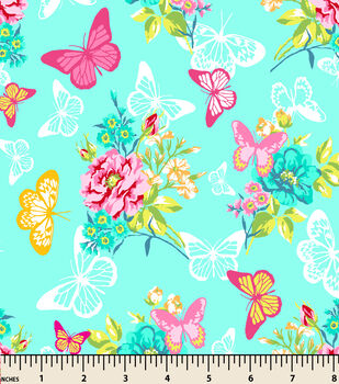 Snuggle Flannel Fabric-Butterfly Lace Garden Teal