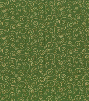 Holiday Inspirations Fabric-Metallic Scrolls Green