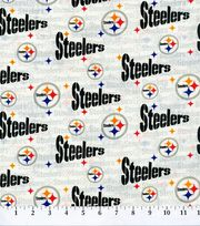 Pittsburgh Steelers NFL White Cotton Fabric by Fabric Traditions, , hi-res