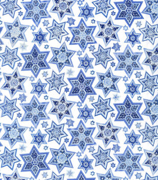 Holiday Inspirations Hanukkah Fabric Quilted Stars Metallic
