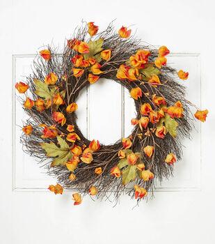 Blooming Autumn 22'' Lantern Flower & Twig Wreath-Orange