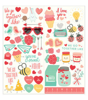 """We Go Together Cardstock Stickers 6""""X12"""" 2/Sheets-Icons & Phrases"""