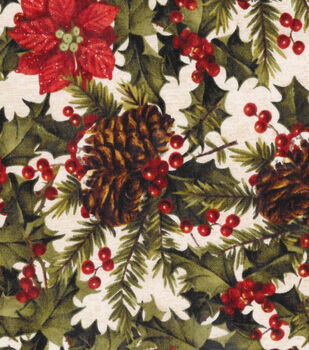 Christmas Cotton Fabric-Holly & Pine Packed On Beige