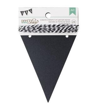 """DIY Shop Banner 24pcs W/String-Chalkboard Pennant, 3.5""""X4.5"""""""
