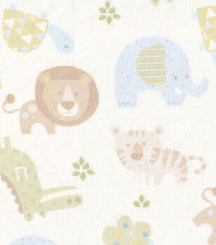 Snuggle Flannel Fabric-Baby Zoo Animals