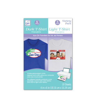 "Variety Pack Dark T-Shirt and Light T-Shirt Transfers, 4"" x 6"" size."