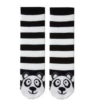 Tubular Novelty Socks-Panda-Black & White Stripe