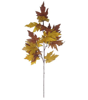 Blooming Autumn 40'' Maple Leaves Spray-Yellow & Brown