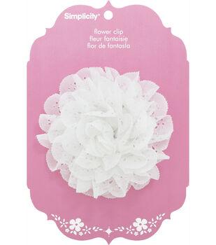 Eyelet Trim Flower Clip White